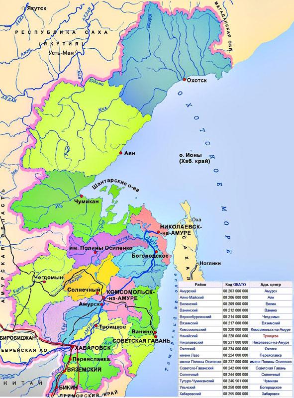 Солнечный район хабаровского края - карта географическая